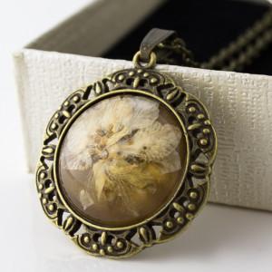 Medalion Z Prawdziwym Kwiatem / Antyczny Brąz