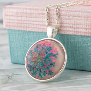 Medalion z Prawdziwym Kwiatem Róż Niebieski
