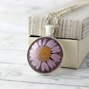 Medalion Z Prawdziwym Wrzosowym Kwiatem