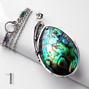 Mermaid heart srebrny naszyjnik z muszlą Paua
