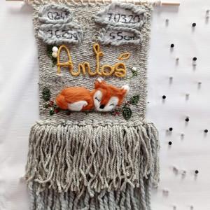 Metryczka dekoracja z lisem lisek dekoracja  imię