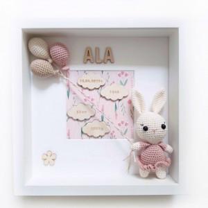 Metryczka narodzin dziecka - króliczek