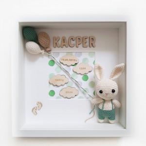 Metryczka narodzin dziecka - zielony króliczek 2