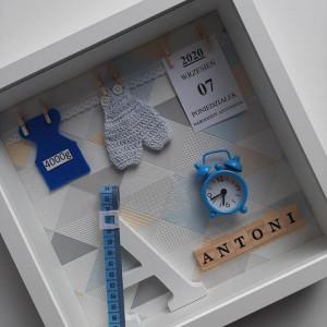 Metryczka, w ramce 3D  dla chłopca