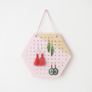 MIDI HEKSAGON PINK WOOD organizer na kolczyki