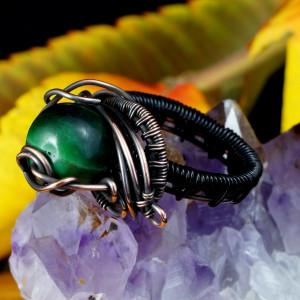 Miedziany pierścionek z kwarcowym tygrysim okiem