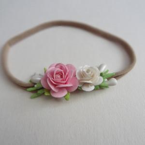 ) miękka opaska mini wianek kwiaty od narodzin