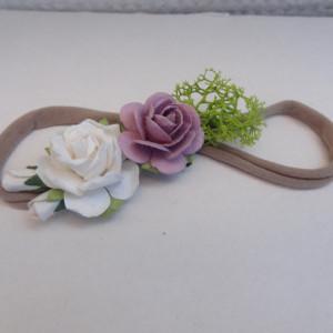 miękkaopaska mini wianek kwiaty lila biel