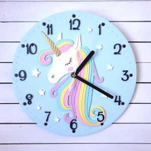 Miętowy zegar dla dziewczynki z jednorożcem