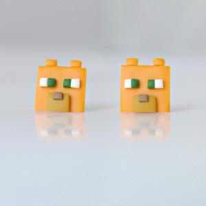 Minecraft Ocelot - maleńkie kolczyki wkrętki