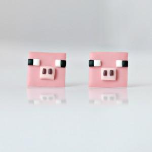 Minecraft Świnka - maleńkie kolczyki wkrętki