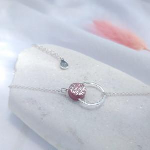 Mini bransoletka kółko różowe sreberko