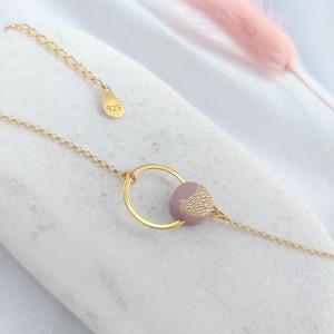 Mini bransoletka kółko różowe złotko