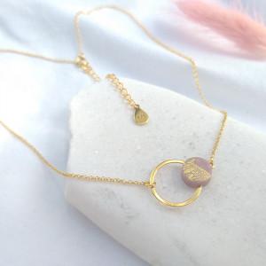 Mini celebrytka kółko różowe złotko