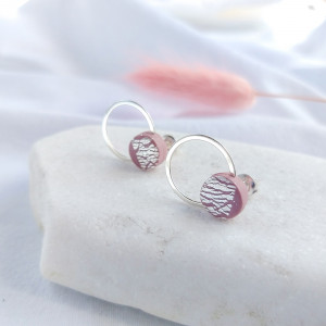 Mini kolczyki kółka różowe sreberka