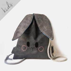 Mini plecak grafitowy króliczek