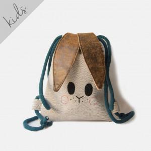 Mini plecak królik w jodełkę ze skórzanymi uszami