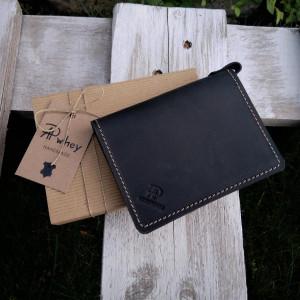 Mini portfel, skórzane etui na karty, czarny