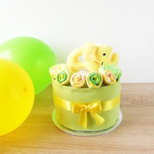 MINI Tort wyprawkowy ZIELONO-ŻÓŁTY