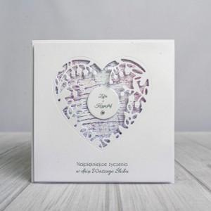 Minimalistyczna kartka ślubna z sercem