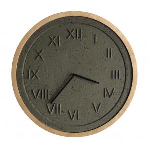 Minimalistyczny zegar betonowy z drewnianą ramką