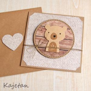 miś Kajetan - kartka na roczek, urodzinki