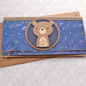 miś kosmiczny - kartka kopertówka