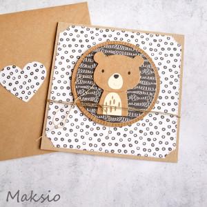 miś Maksio - kartka na roczek, urodzinki