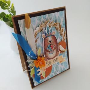 Miś szaman - kartka urodzinowa