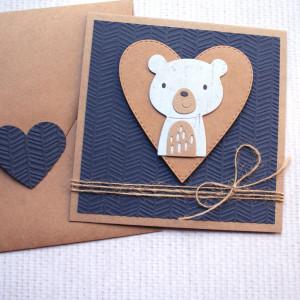 miś Tomuś - kartka na roczek, urodzinki, narodziny