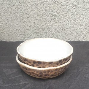 Miseczka ceramiczna biel i brąz