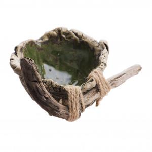 Miseczka ceramiczna zielona z drewnem 1