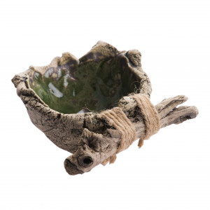 Miseczka ceramiczna zielona z drewnem 2