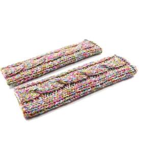 Mitenki rękawiczki na drutach z warkoczem