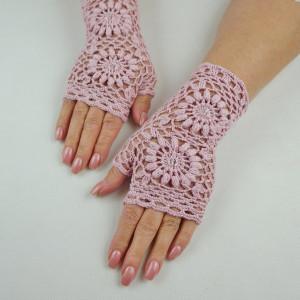 Mitenki szydełkowe pink