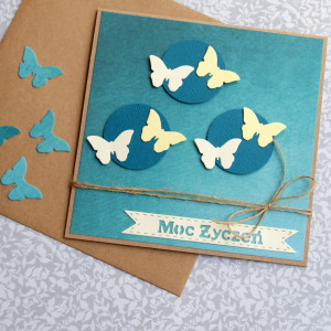 moc życzeń - motyle - turkus - kartka handmade