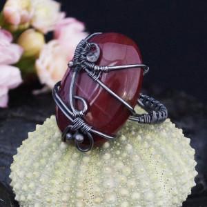 Mokait, Srebrny pierścionek z mokaitem rozmiar 13