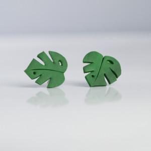 Monstera - liście - lekkie kolczyki wkręty