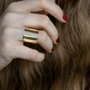 Mosiężny otwarty pierścionek