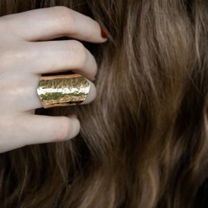 Mosiężny pierścionek młotkowany