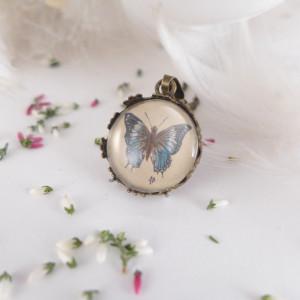 Motyl, miniatura, Ręcznie malowany naszyjnik