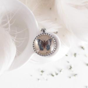 Motyl, srebro 925, Ręcznie malowany naszyjnik