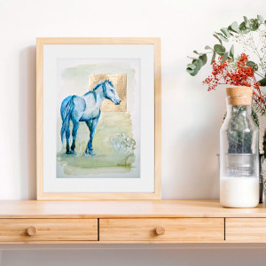Mustang - koń - akwarela - oryginał - obraz