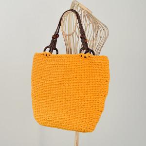 Musztardowa torebka z podszewką w kaktusy