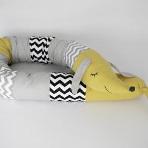 Musztardowy ochraniacz do łóżeczka łóżka wałek (09