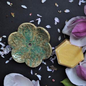 Mydelniczka ceramiczna Kwiat - Turkusowa melanż