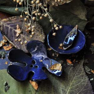 Mydelniczka liść z miską na glinki Granatowa