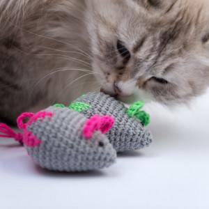 Mysz z kocimiętką Flower Power dla kota neon róż