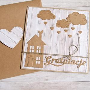 na parapetówkę :: kartka na nowy dom - drewno