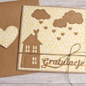 na parapetówkę :: kartka na nowy dom ; żółta